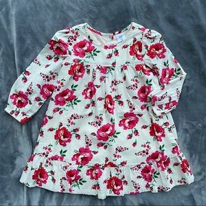 Gap off white/floral cotton dress toddler 3t